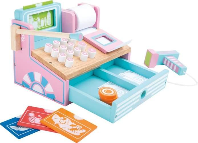 drewniana kasa sklepowa do zabawy dla dzieci pastelowa. Black Bedroom Furniture Sets. Home Design Ideas