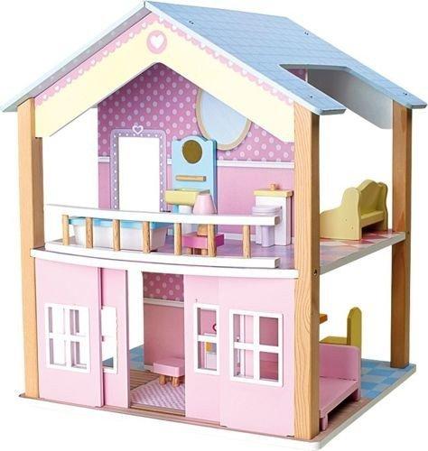 Drewniany domek dla lalek z niebieskim dachem  zabawka dla dzieci small foot   -> Drewniany Kuchnia Dla Dzieci Zrób Sam