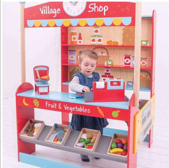 Stoisko Do Sklepu Wiejski Sklep Do Zabawy Dla Dzieci Bigjigs Bigjigs Toys Sklep Dla Dzieci