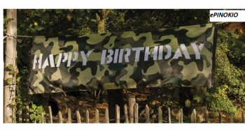 Baner wojskowy Happy Birthday 74 x 220 cm