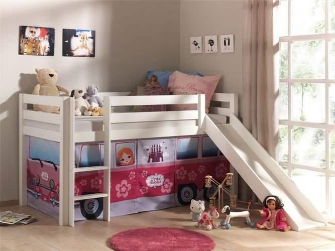 Drewniane łóżko Piętrowe Dla Dzieci Pino Ze Zjeżdżalnią Sosna Biała