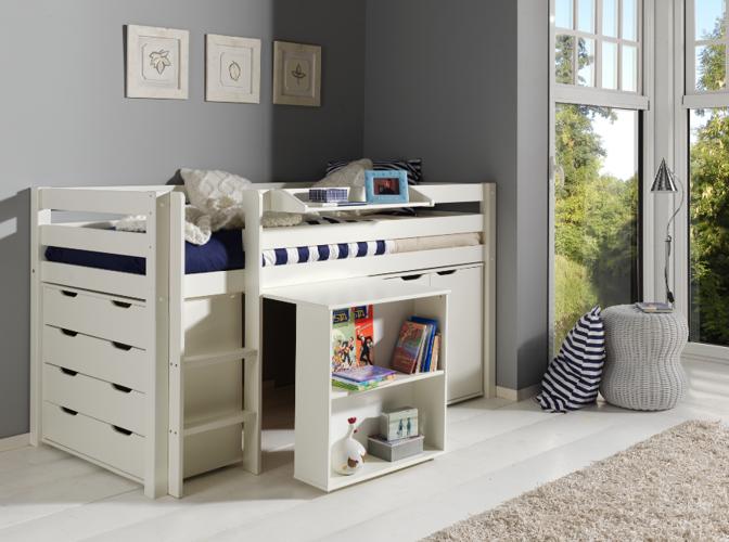Drewniane łóżko Piętrowe Wielofunkcyjne Dla Dzieci Pino I Zestaw Biurko Szafka I Komoda Sosna Biała