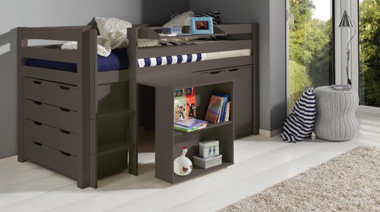Drewniane łóżko Piętrowe Wielofunkcyjne Dla Dzieci Pino I Zestaw Biurko Szafka I Komoda Sosna Taupe
