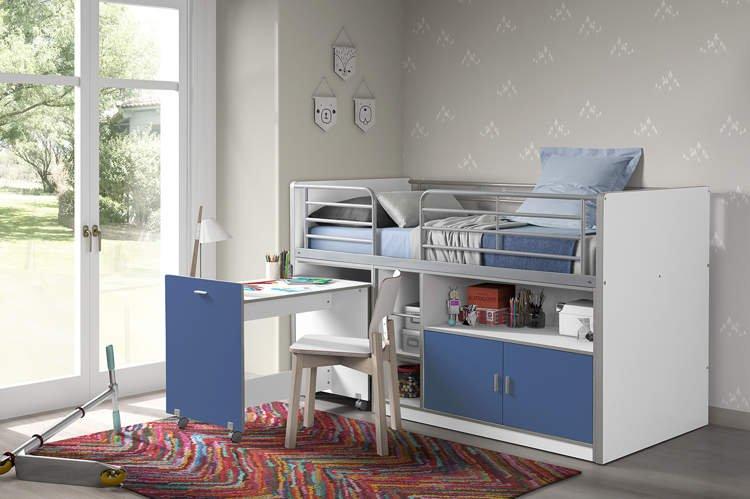 łóżko Piętrowe Dla Dzieci Bonny Bis Blue Z Biurkiem
