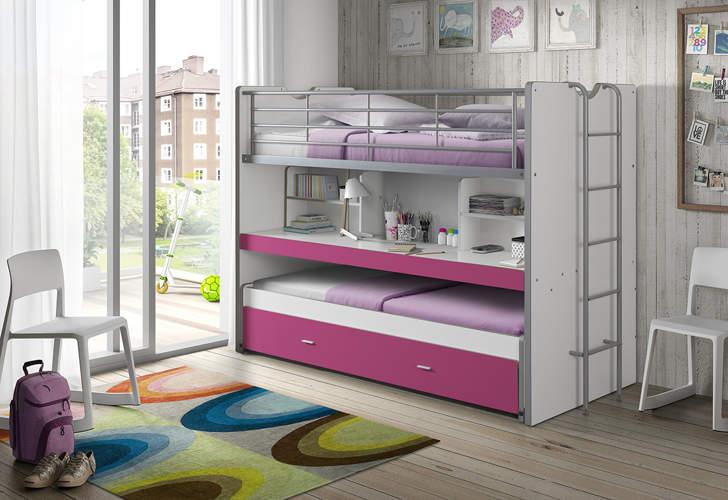 łóżko Piętrowe Dla Dzieci Bonny Fuksja