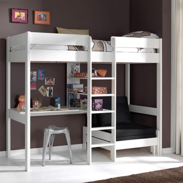 łóżko Piętrowe Drewniane Dla Dziecka Pino Sofabed Biała