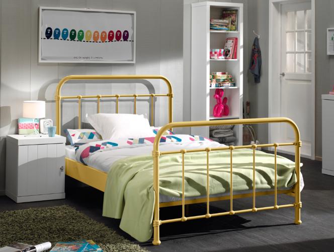 Metalowe łóżko Dla Dziecka New York żółte 128x212 Cm