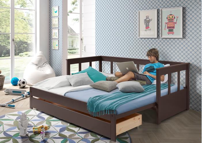 Sofa Pino Ii Kapitańskie łóżko Dla Dzieci Z Szufladą Kolor Taupe
