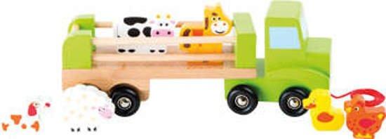 Drewniany samochód transportowy ze zwierzakami, ciężarówka