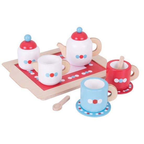 Drewniany Serwis Do Herbaty Do Zabawy Dla Dzieci Zestaw 10 Elementów